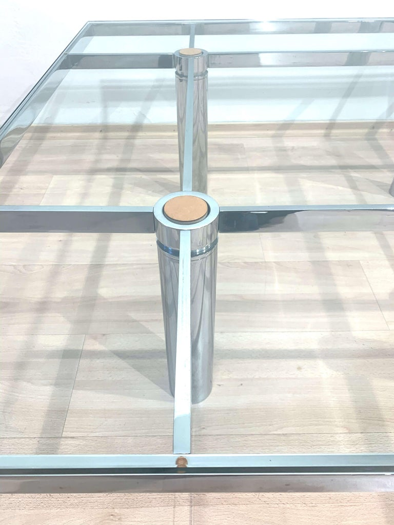 Sofa Table 'Andre' by Afra & Tobia Scarpa, Chromed and Glass, Italy, circa 1970 For Sale 6