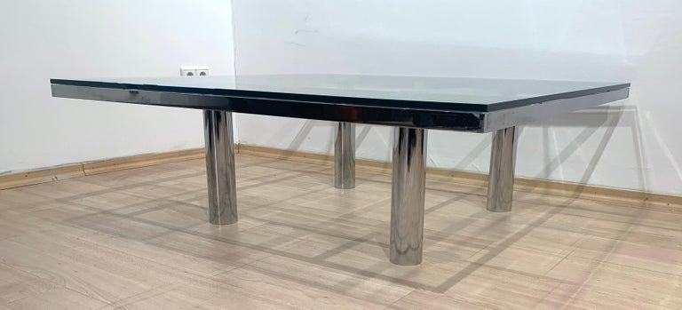 Sofa Table 'Andre' by Afra & Tobia Scarpa, Chromed and Glass, Italy, circa 1970 For Sale 7