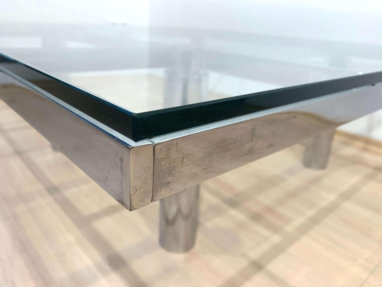 Sofa Table 'Andre' by Afra & Tobia Scarpa, Chromed and Glass, Italy, circa 1970 For Sale 8