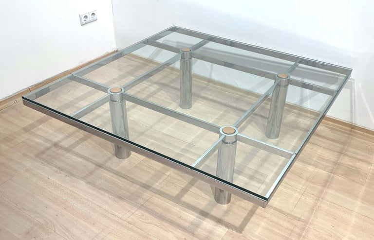Mid-Century Modern Sofa Table 'Andre' by Afra & Tobia Scarpa, Chromed and Glass, Italy, circa 1970 For Sale