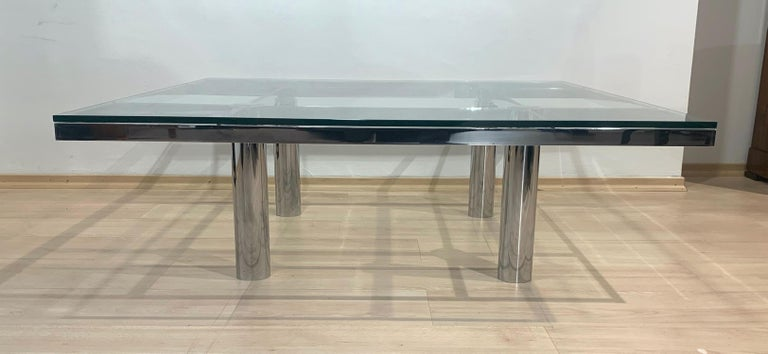 Italian Sofa Table 'Andre' by Afra & Tobia Scarpa, Chromed and Glass, Italy, circa 1970 For Sale