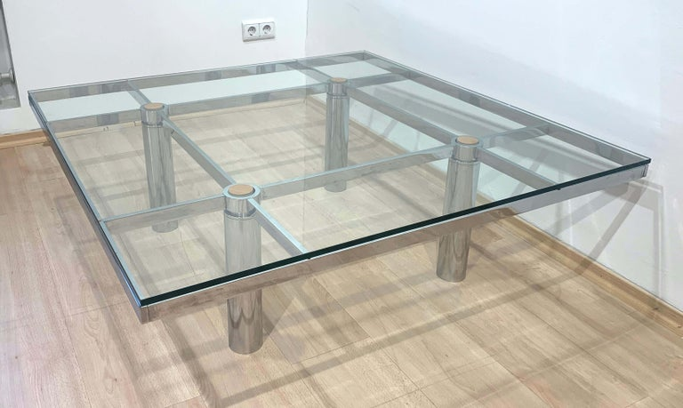 Galvanized Sofa Table 'Andre' by Afra & Tobia Scarpa, Chromed and Glass, Italy, circa 1970 For Sale