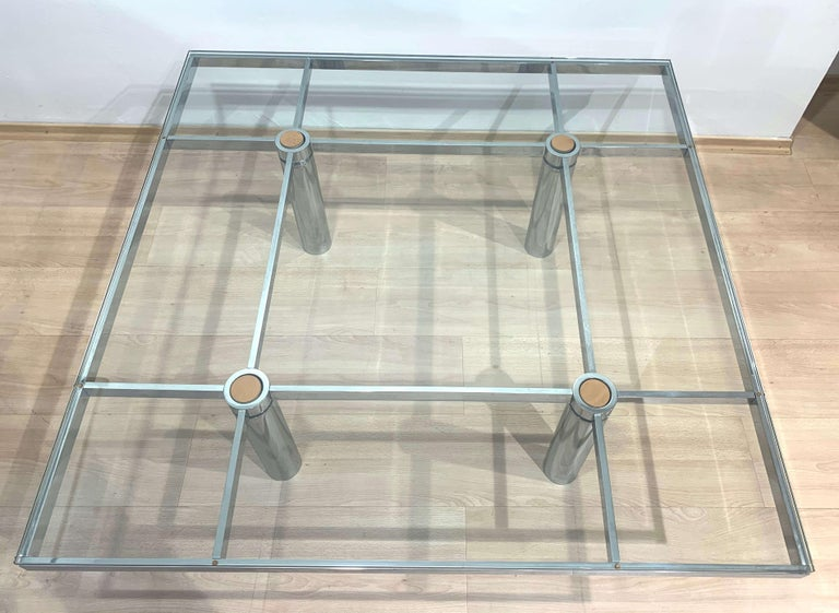 Late 20th Century Sofa Table 'Andre' by Afra & Tobia Scarpa, Chromed and Glass, Italy, circa 1970 For Sale