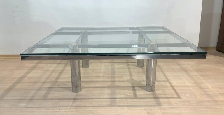 Steel Sofa Table 'Andre' by Afra & Tobia Scarpa, Chromed and Glass, Italy, circa 1970 For Sale