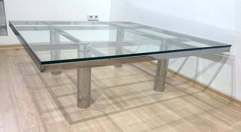 Sofa Table 'Andre' by Afra & Tobia Scarpa, Chromed and Glass, Italy, circa 1970 For Sale 1