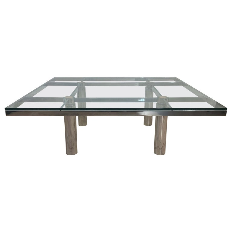 Sofa Table 'Andre' by Afra & Tobia Scarpa, Chromed and Glass, Italy, circa 1970 For Sale