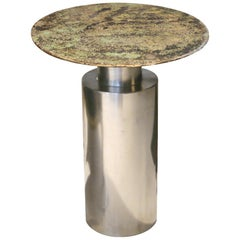 """Sofa Table, """"TOTEM green"""", Melted Pewter, Murano Glass, Crystal Resin"""