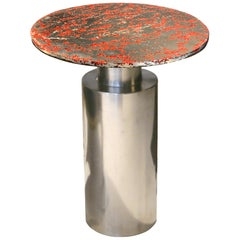 """Sofa Table, """"Totem red"""", Melted Pewter, Murano Glass, Crystal Resin"""