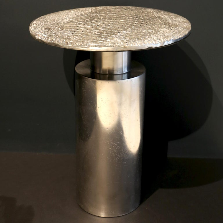Made to order: This contemporary coffee table is a unique piece, created by Xavier Lavergne and made of melted pewter with scales design, embedded in resin and polished like a marble. The table is handmade in France. Each piece is unique and sold
