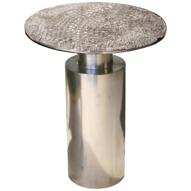 """Sofa Table, """"Totem scales"""", Melted Pewter, Crystal Resin For Sale"""