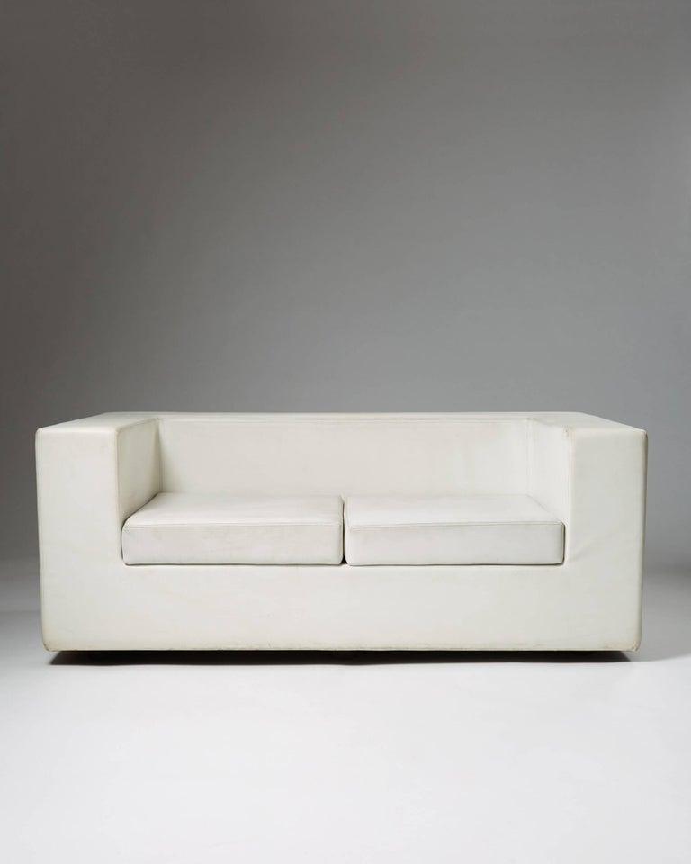 """Sofa """"Throwaway"""" designed by Willie Landels for Zanotta, Italy, 1960s. Vinyl covered foam.  Measures: H 75 cm/ 29 1/2'' L 180 cm/ 5' 11'' D 105 cm/ 41 1/2'' SH 38 cm/ 15"""