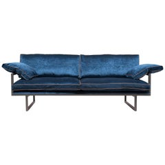 GHYCZY Sofa Brad GP01 Ristretto, Blue Velvet Fabric, Adjustable Back