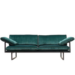 Sofa Urban GP01 Ristretto Frame, Green Velvet Fabric, Leather, Eclectic Style