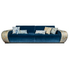 Sofa Venezia EticaLiving, Blue Fabric and Velvet, Made in Italy