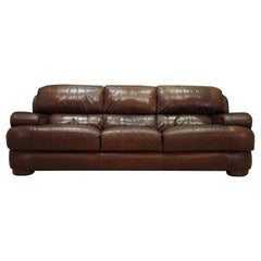 Sofa Vintage Brown Leather Danish Design, 1960s