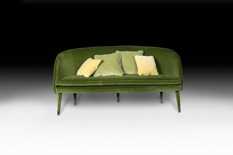Modern Sofa Vivien, Velvet and Metal, Italy For Sale