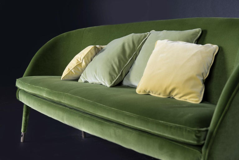 Contemporary Sofa Vivien, Velvet and Metal, Italy For Sale