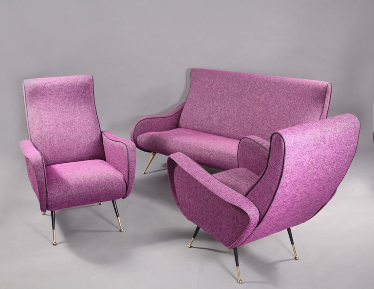 Italian Sofa with Two Lady Chairs Marco Zanuso Style, Italy, 1950 For Sale