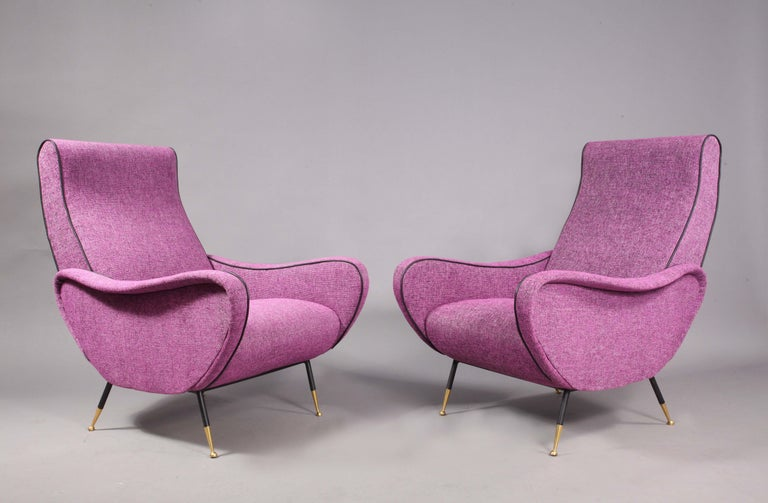 Sofa with Two Lady Chairs Marco Zanuso Style, Italy, 1950 In Good Condition For Sale In Vienna, Vienna