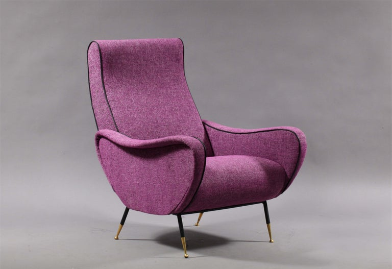 Fabric Sofa with Two Lady Chairs Marco Zanuso Style, Italy, 1950 For Sale