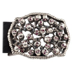Soffer Ari Sterling Silver Ruby and Diamond Gothic Arsenal Skulls Belt & Buckle