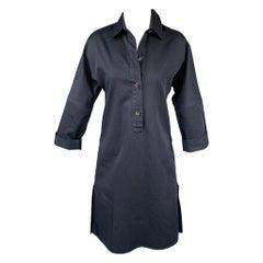 SOFIE D'HOORE Size 4 Navy Cotton Shirt Dress