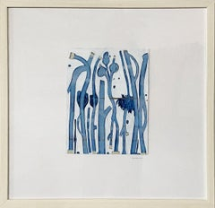 """""""Dancers in Blue #1,"""" Abstract Framed Painting"""