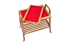 SOFO Tea Trolley in Freijo Wood with Red Glass Tray, in Stock