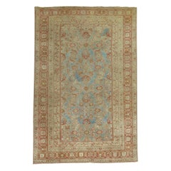 Soft Blue 20th Century Antique Traditional Herati Design Persian Malayer Rug