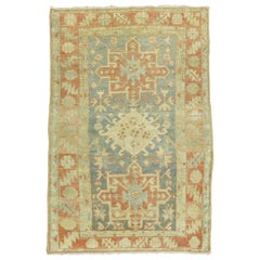Soft Blue Peach Persian Heriz Scatter Size Rug, Early 20th Century