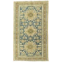 Soft Blue Persian Heriz Throw Rug