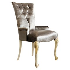 Soft Classic Italian Capitone Armchair in Ivory and Gold Leaf Lacquer Finish