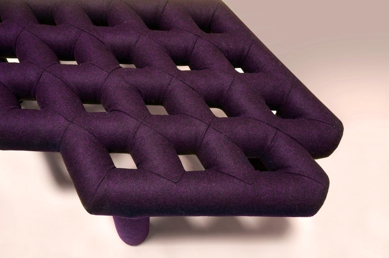 Modern Soft Diamond Seat, Ottoman in Customizable Configurations and Fabric Colors For Sale