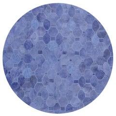 Soft & Elegance Customizable Oleada Periwinkle Cowhide Area Floor Rug Large