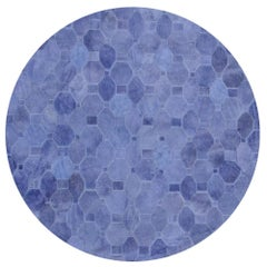 Soft and Elegance Customizable Oleada Periwinkle Cowhide Area Floor Rug Medium