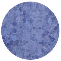 Soft & Elegance Customizable Oleada Periwinkle Cowhide Area Floor Rug Small