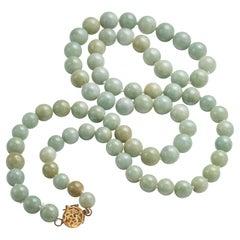 Soft Green Jadeite Jade Neckace Certified Untreated