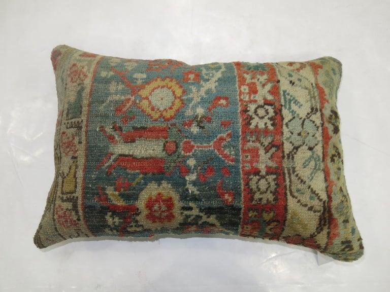 Adirondack Soft Green Red Oushak Lumbar Pillow For Sale