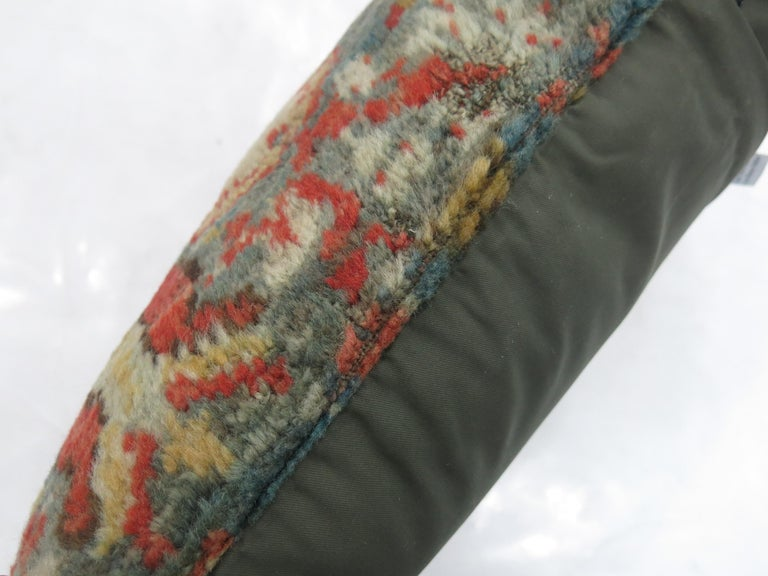 Soft Green Red Oushak Lumbar Pillow In Good Condition For Sale In New York, NY