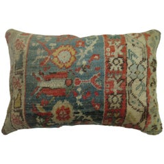 Soft Green Red Oushak Lumbar Pillow