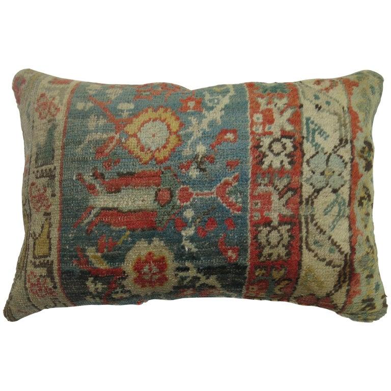 Soft Green Red Oushak Lumbar Pillow For Sale