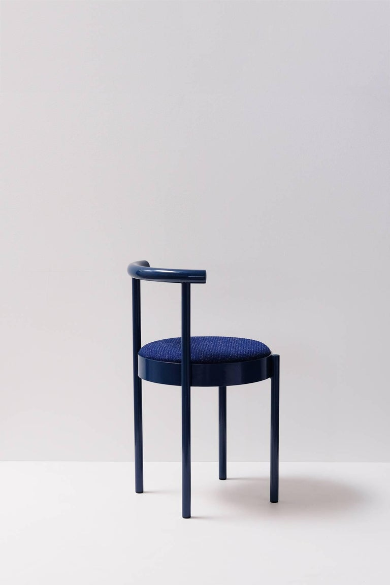 Powder-Coated Soft Navy Blue Contemporary Chair, 1stdibs New York For Sale