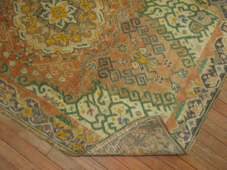 Soft Orange Oushak Rug In Excellent Condition For Sale In New York, NY