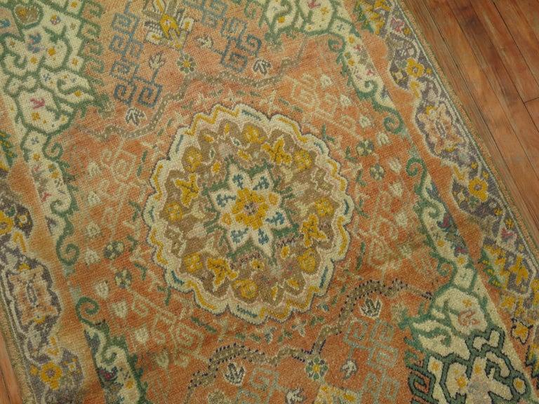 20th Century Soft Orange Oushak Rug For Sale