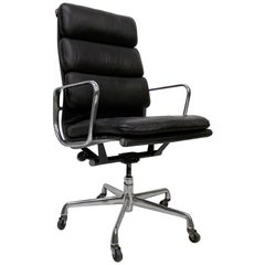 Soft Pad Eames Aluminum Group Office Chair Herman Miller Vitra Brown Leather
