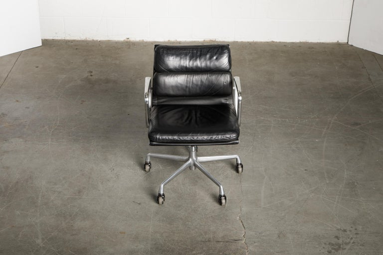 Mid-Century Modern Soft Pad Management Chair by Charles Eames for Herman Miller, Signed & Dated For Sale