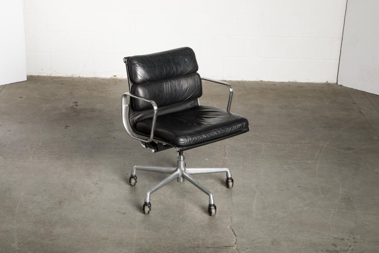 Polished Soft Pad Management Chair by Charles Eames for Herman Miller, Signed & Dated For Sale