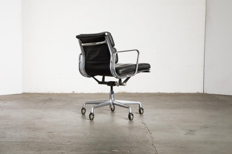 Leather Soft Pad Management Chair by Charles Eames for Herman Miller, Signed & Dated For Sale