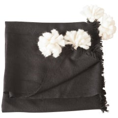 Soft Peruvian Wool Throw in Black, with Natural White Pom Poms, in Stock