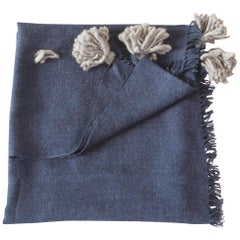 Soft Peruvian Wool Throw in Indigo, with Grey Pom Poms, in Stock